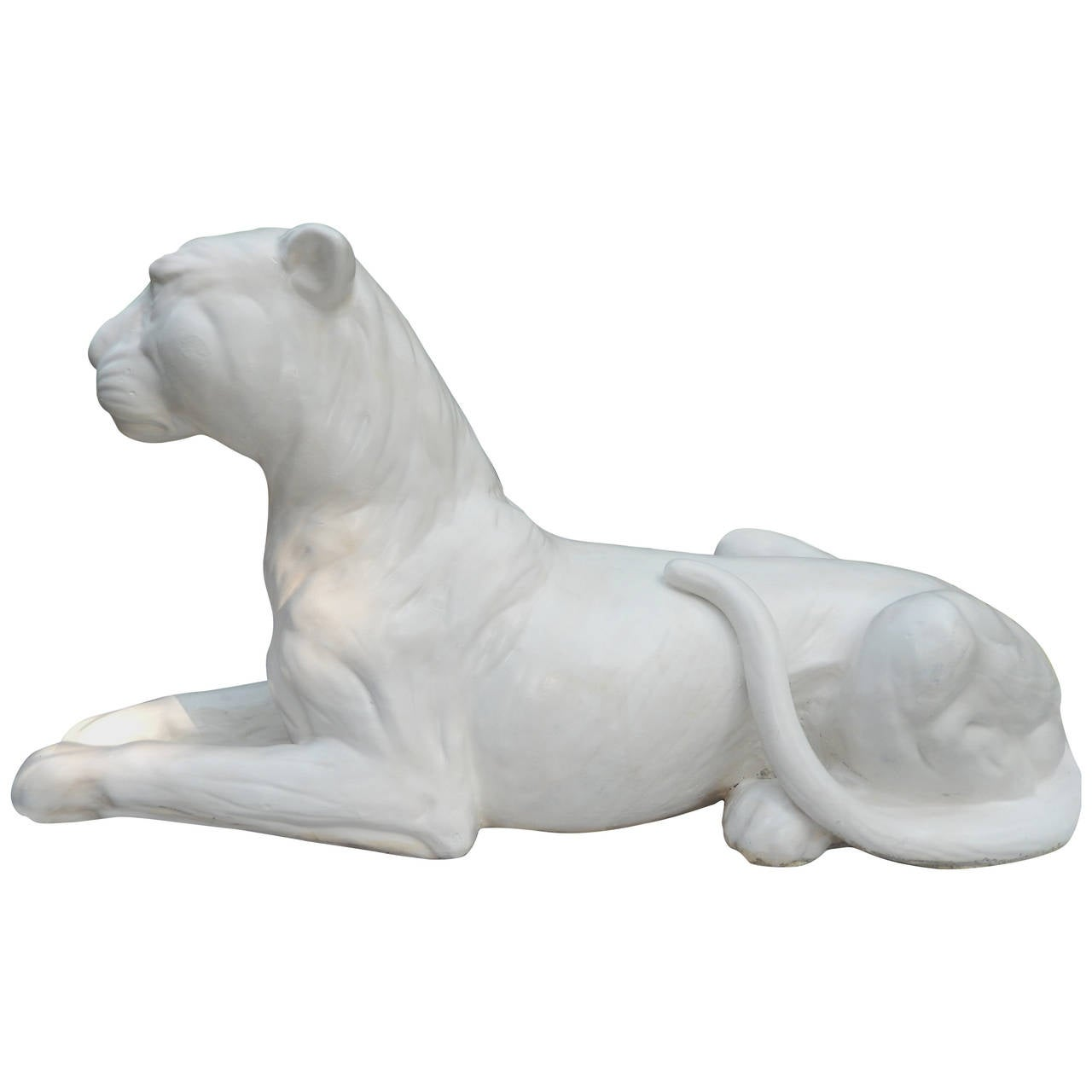 Large Bone White Glazed Pottery Lion Sculpture, After Meissen, 1930s