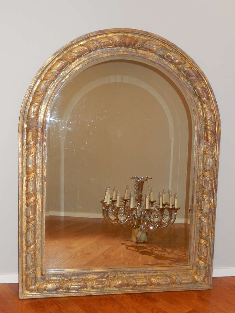Large arched giltwood wall or floor mirror at 1stdibs Large mirror on wall