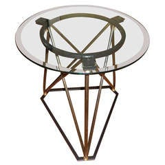 1930s Industrial Steel and Glass Table