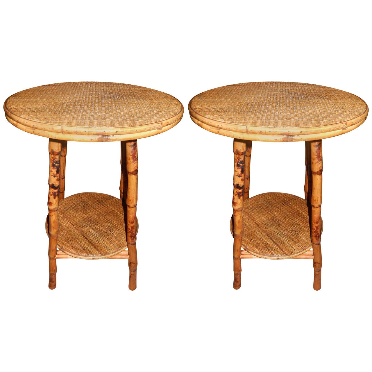 Pair of west indian bamboo and cane side tables at 1stdibs for Bamboo side table