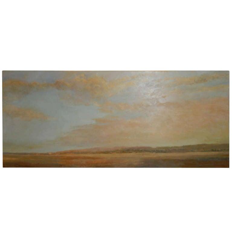 """Artist Valta Us. Oil on Canvas """"Deserted Coastline"""" Long Island, NY"""