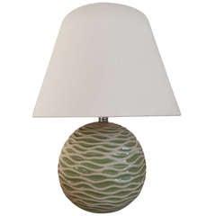 A Scandinavian Modern Ceramic Apple Green Lamp
