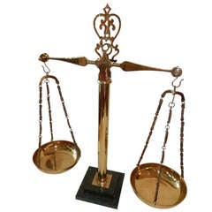 Vintage Brass & Marble Apothecary Scales