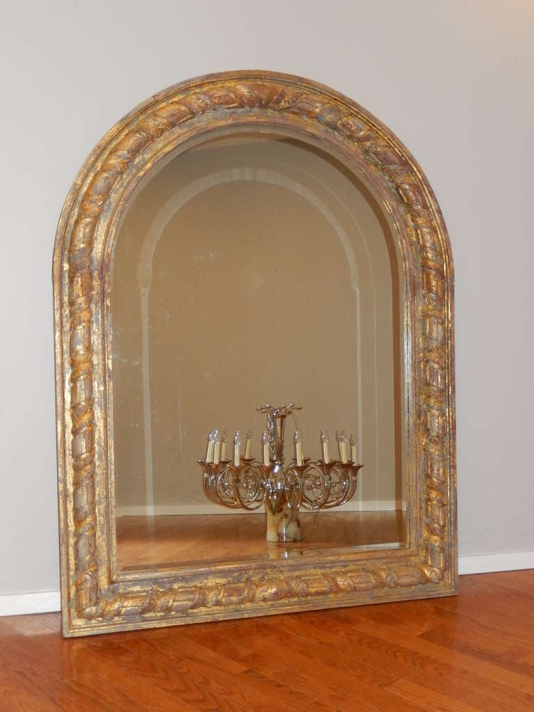 Large arched giltwood wall or floor mirror at 1stdibs for Floor wall mirror
