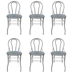 Six Midcentury Bistro Metal Chairs, Industrial
