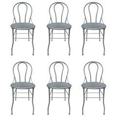 Six Midcentury Bistro Metal Chairs, Industrial