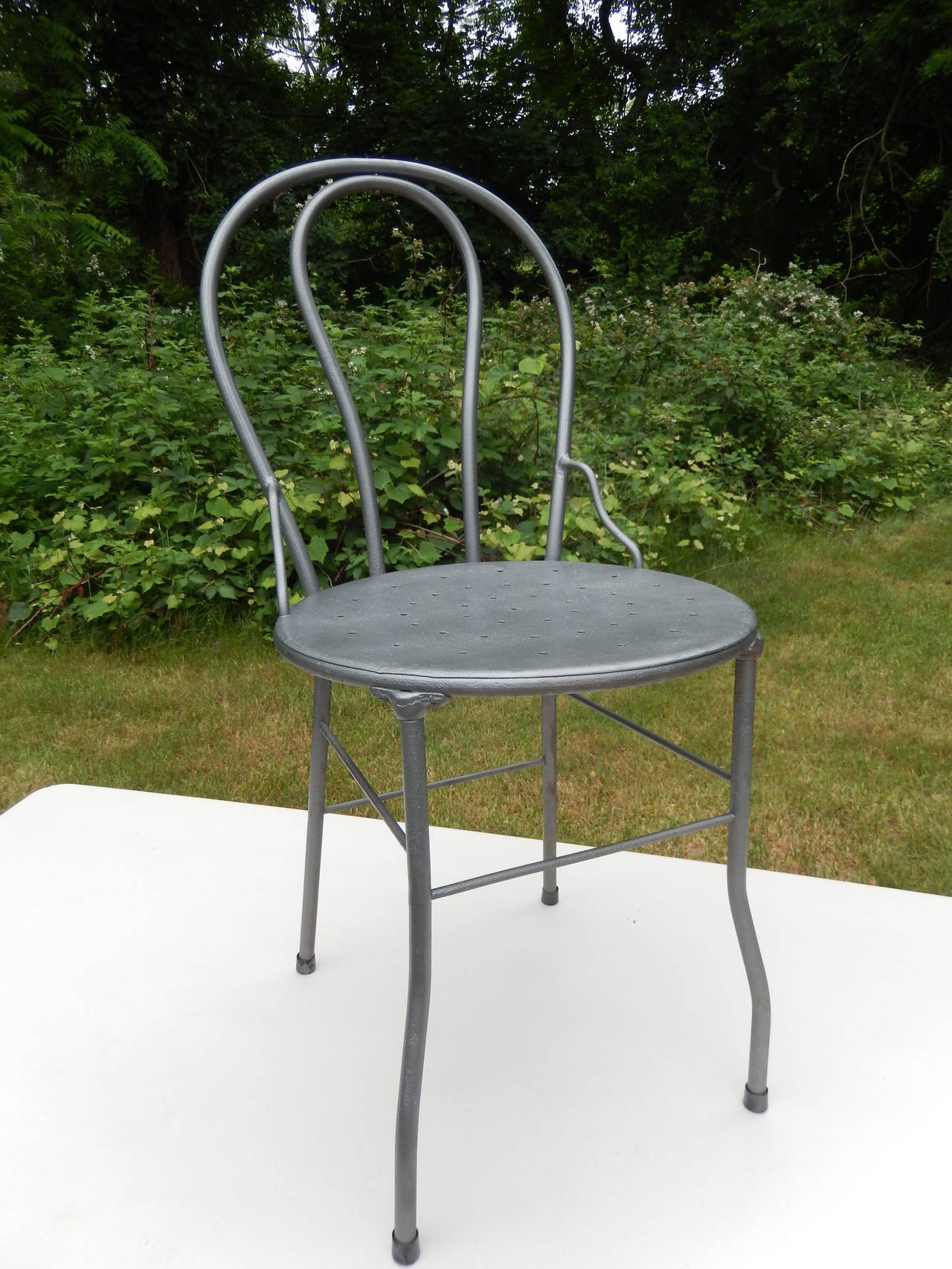 Six Curvy Industrial Mid Century Metal Bistro Chairs. All In Perfect  Condition. Gunmetal