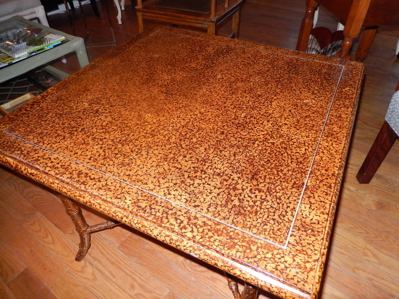 Anglo Indian  Faux Finished Tortoise Shell and Bamboo Table 5