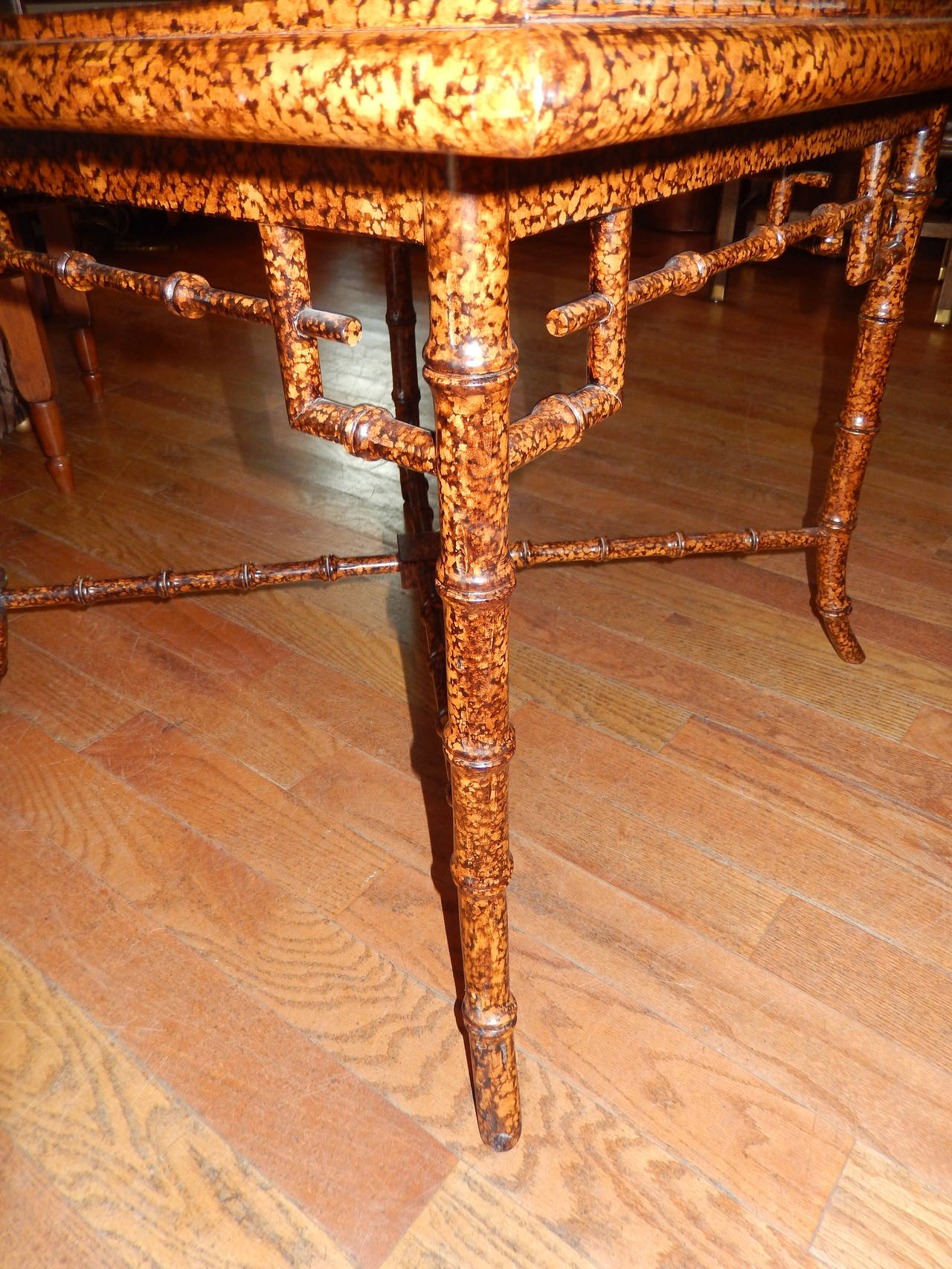 Anglo Indian  Faux Finished Tortoise Shell and Bamboo Table 3