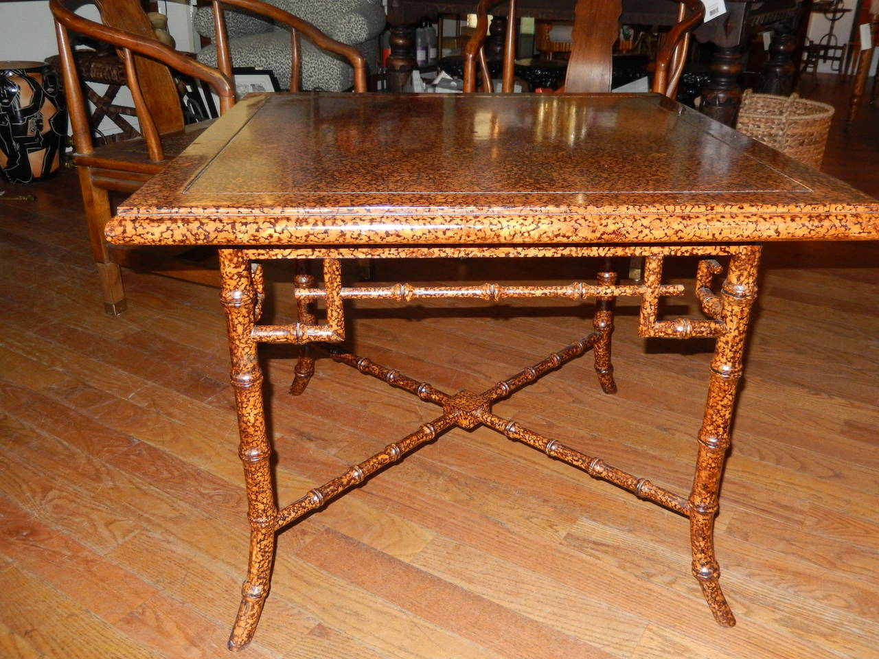 Anglo Indian  Faux Finished Tortoise Shell and Bamboo Table 2