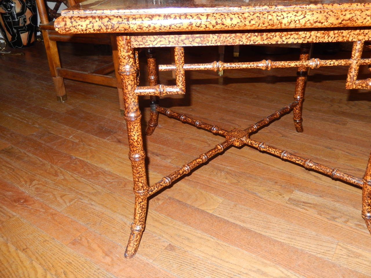 Anglo Indian  Faux Finished Tortoise Shell and Bamboo Table 4