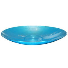 Massive Teal Blue Murano Glass Bowl