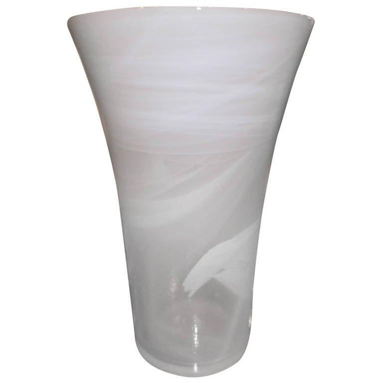 Tall Murano Glass White Vase at 1stdibs