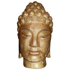 Burmese Gilt Finish Buddha Head