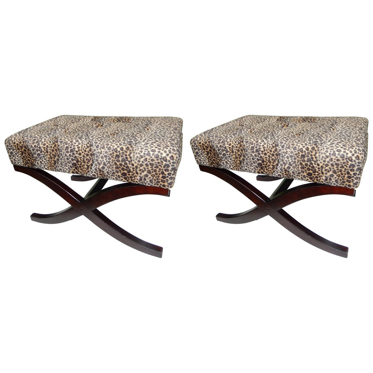 Pair of regency style leopard print benches at 1stdibs Leopard print bench
