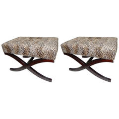 Pair of Regency Style Leopard Print Benches