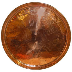 Massive Hammered Copper Vintage Tray