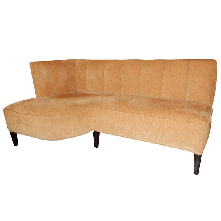 Famechon Sofa With Channeled Back And Seat Walnut Legs: Mid-Century Modern Settee Or Sofa At 1stdibs