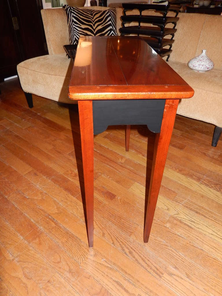 American Custom Cherrywood and Ebony Console Table For Sale