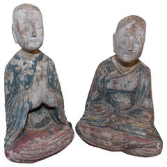Pair of Wooden Chinese Buddha Figures