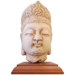 Carved Stone Buddha Head on Stand, circa 1930s