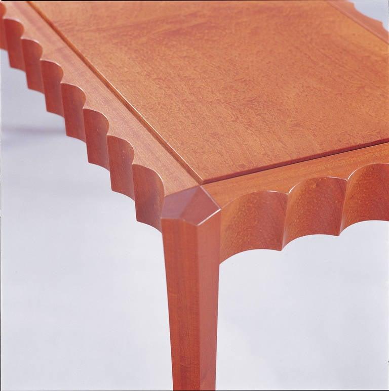 American David N. Ebner Pomele and Sapele Wood Hall or Sofa Table For Sale