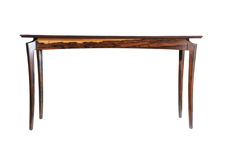 Ziricote Hall or Console Table by David N. Ebner In Excellent Condition For Sale In Bellport, NY