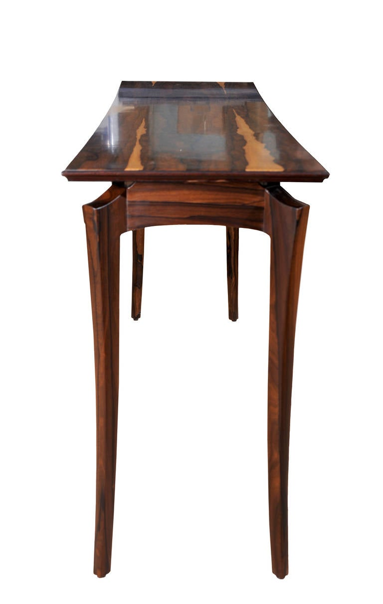 A ziricote console table by internationally renowned studio craft artist David N. Ebner. Wood choice and table size will determine cost.