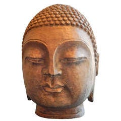 Late 19thc Indonesian Hand Carved Stone Buddha Head