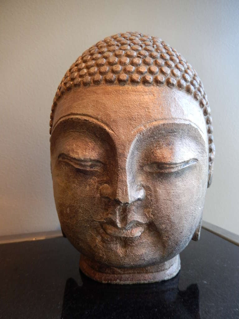 Late thc indonesian hand carved stone buddha head at stdibs