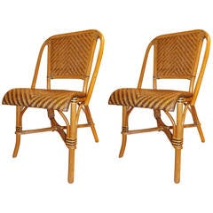 Pair of Mid-Century Bamboo and Woven Cane Chairs