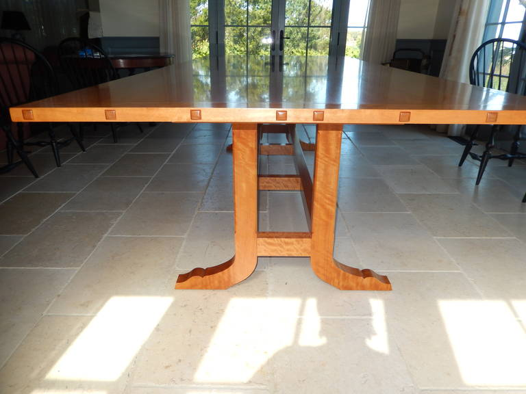 David N. Ebner Makore Wood Dining Room or Conference Table,  In Excellent Condition For Sale In Bellport, NY