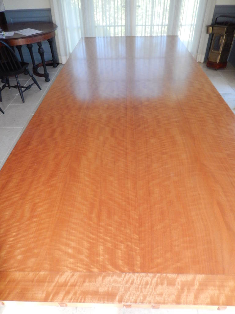 Hand-Crafted David N. Ebner Makore Wood Dining Room or Conference Table,  For Sale