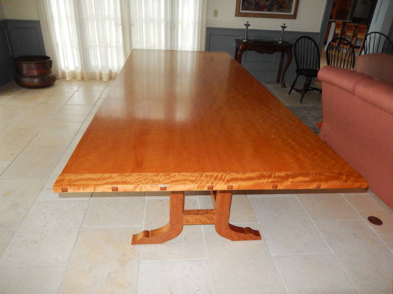 American Craftsman David N. Ebner Makore Wood Dining Room or Conference Table,  For Sale