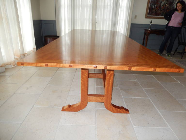 American David N. Ebner Makore Wood Dining Room or Conference Table,  For Sale