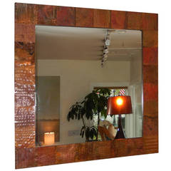 Large English Hammered Copper Mirror