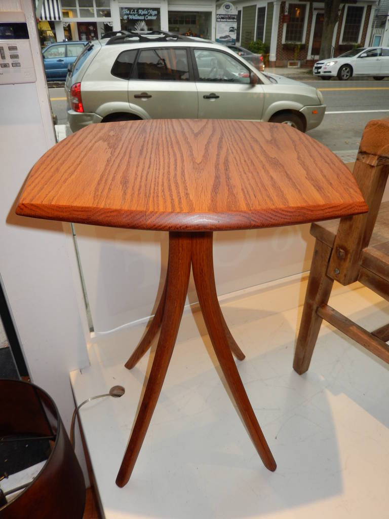 An Early David N Ebner Red Oak Side Or Occasional Table Solid
