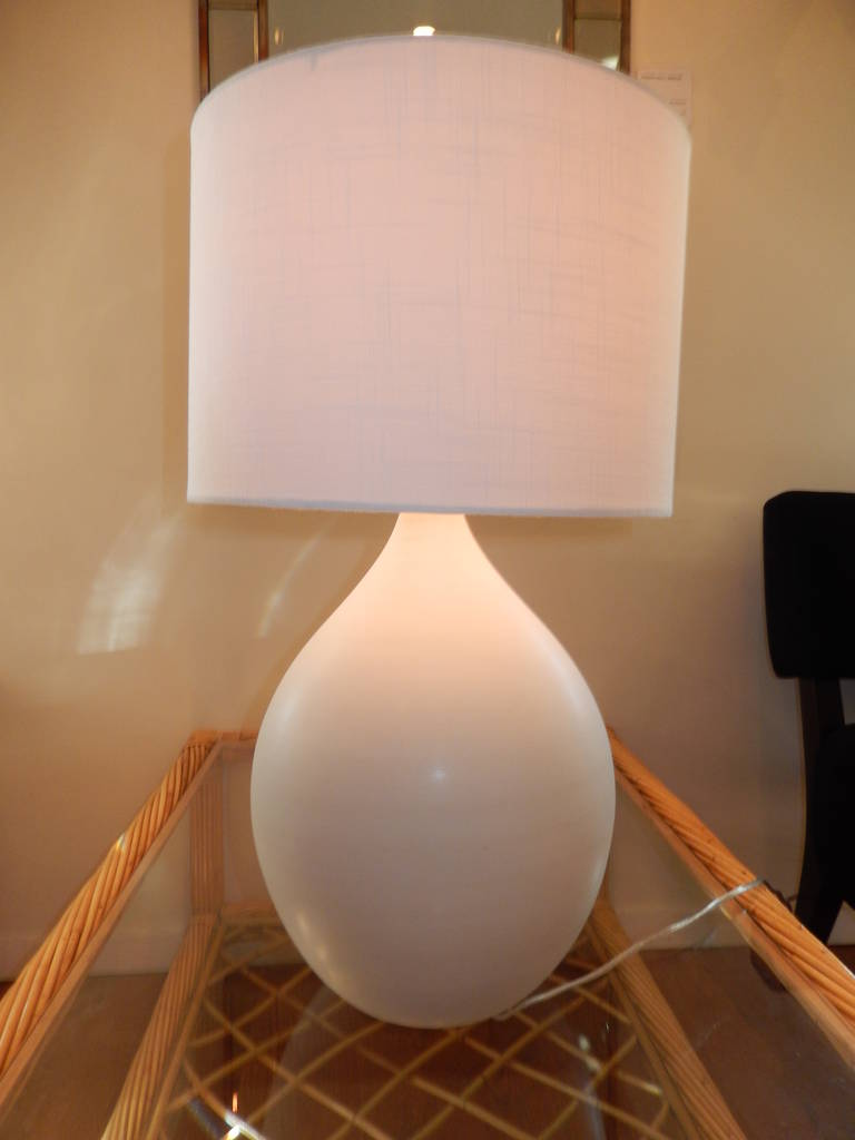 Danish Handcrafted White Studio Pottery Table  Lamp 3