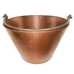 Large Hammered Copper and Steel English Bucket