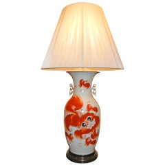 Decorative Chinese Late 19th Century Ceramic Vase Turned Table Lamp