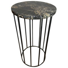 Tall Iron and Marble Side Table