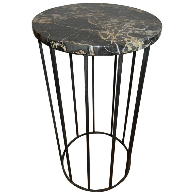 Tall Iron And Marble Side Table For Sale At 1stdibs