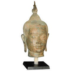 An Burmese Bronze Buddha on Stand