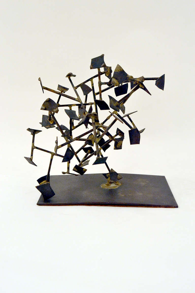 An early and unique welded from by Harry Bertoia. The sculpture's Form is extremely experimental and less formally structured than the majority of works by Bertoia. It is a nice example of Bertoia's experimentation and exploration with form and
