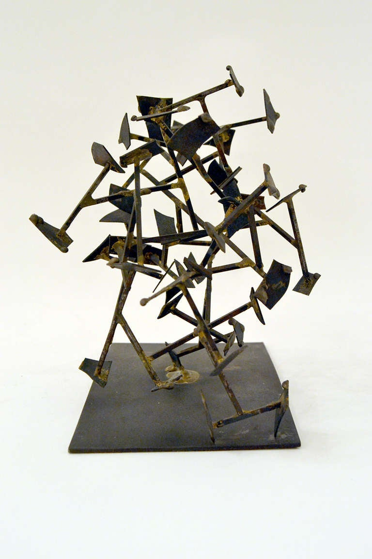American Harry Bertoia Welded Steel and Brass Sculpture, USA 1950s For Sale