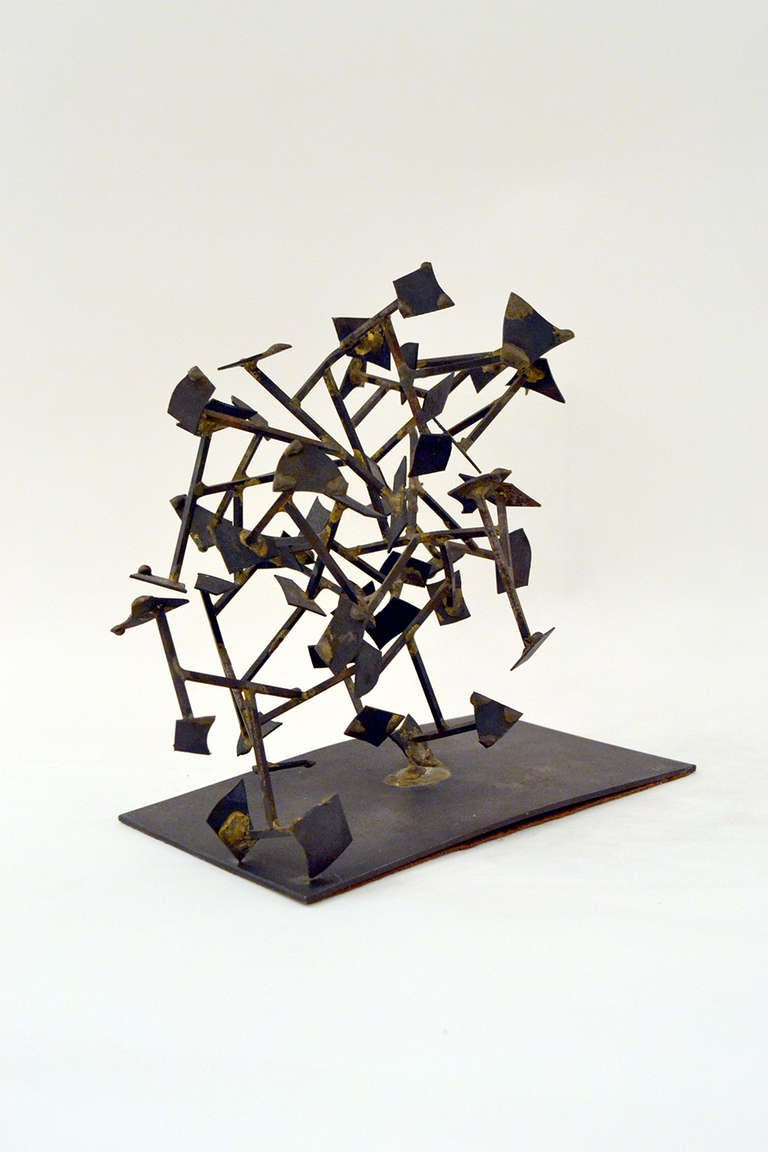 Mid-20th Century Harry Bertoia Welded Steel and Brass Sculpture, USA 1950s For Sale