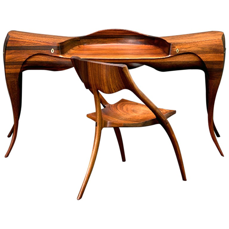 1965 Wendell Castle Vermilion Desk and Chair 1