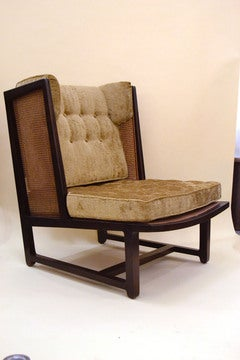 Edward Wormley for Dunbar Upholstered Cane and Mahogany Chair