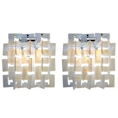 Opalescent Pair of Sconces by Carlo Nason for Mazzega, Italy 1970s