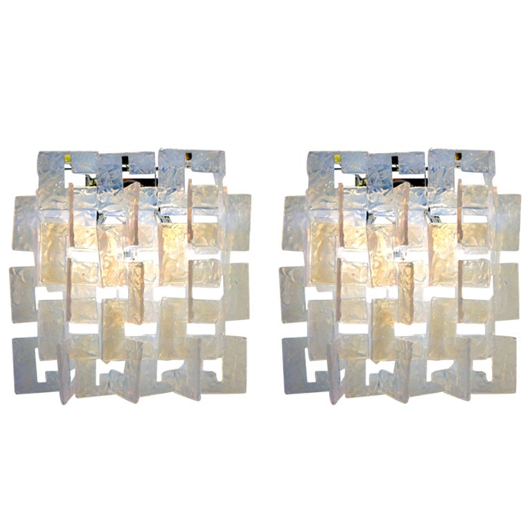 Opalescent Pair of Sconces by Carlo Nason for Mazzega, Italy 1970s 1